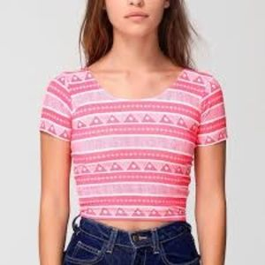 American Apparel Crop Top Pink Aztec